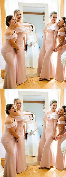 Sexy Mermaid Off Shoulder Pink Cheap Long Bridesmaid Dresses,FPWG219