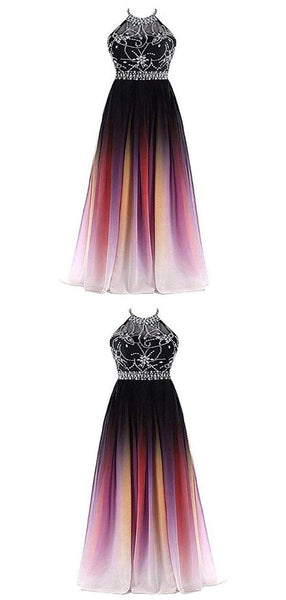 New A-Line Halter Chiffon Long Prom Dresses With Beading,FPPD041