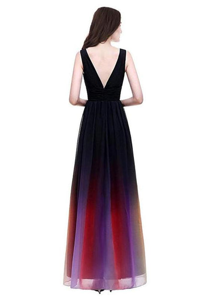 2019 A-Line Deep V-Neck Sleeveless Chiffon Long Prom Dresses,FPPD001