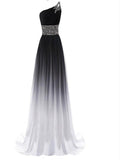 New A-Line One Shoulder Beaded Chiffon Long Prom Dresses,FPPD042