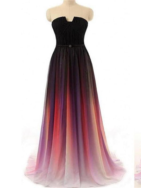Brand New A-Line Strapless Chiffon Long Prom Dresses,FPPD096