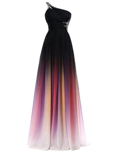 2019 A-Line One Shoulder Beaded Chiffon Long Prom Dresses,FPPD002