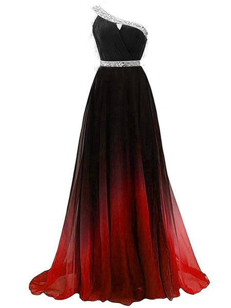 Simple A-Line One Shoulder Beaded Chiffon Long Prom Dresses,FPPD009