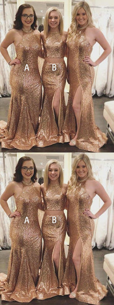 Sexy Mermaid Halter Side Slit Gold Sequined Long Bridesmaid Dresses With Beading,FPWG230