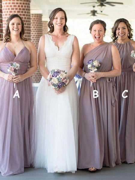 Simple A-Line Mismatched Tulle Cheap Custom Long Bridesmaid Dresses,FPWG232