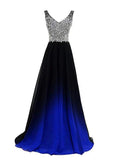 Popular A-Line V-Neck Two Straps Beaded Chiffon Long Prom Dresses,FPPD051