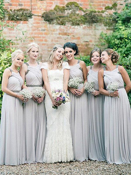 Fabulous A-Line Round Neck Sleeveless Chiffon Long Bridesmaid Dresses With Beading,FPWG228