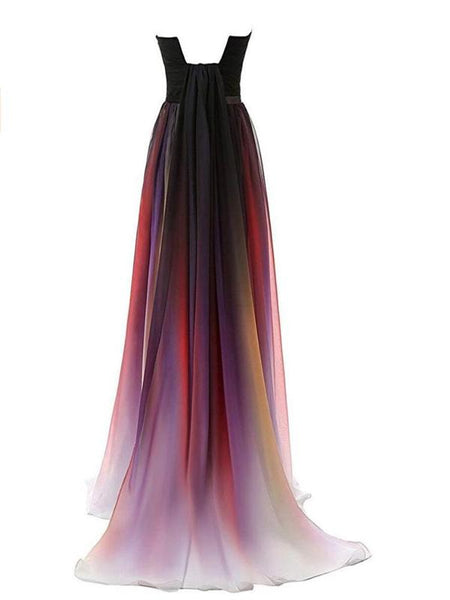 New Strapless A-Line Chiffon Long Prom Dresses,FPPD050