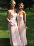 Exquisite A-Line Sweetheart Pink Chiffon Long Bridesmaid Dresses With Lace,FPWG227