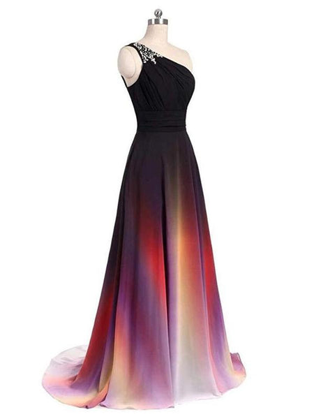 Simple One Shoulder Beaded Chiffon Long Evening Prom Dresses,FPPD012