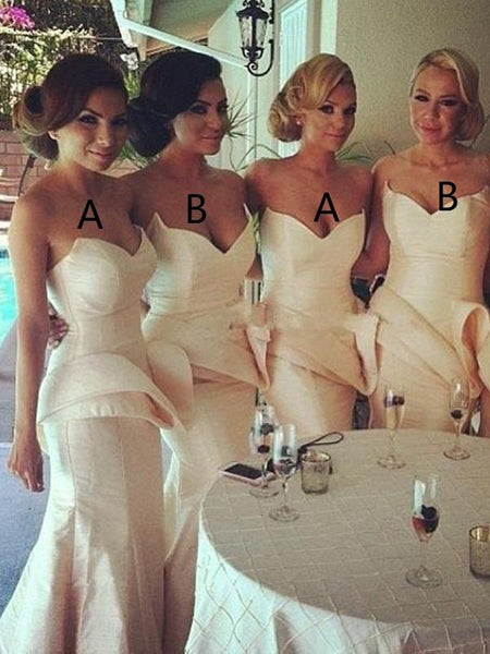 Mermaid Sweetheart Ivory Cheap Long Bridesmaid Dresses With Ruffles,FPWG237