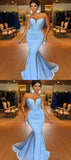 Mermaid Blue Sweetheart Satin Long Prom Dresses,FPPD099