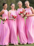 A-Line Round Neck Sleeveless Pink Chiffon Long Bridesmaid Dresses With Lace,FPWG234