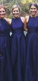 Simple A-Line Round Neck Sleeveless Navy Blue Cheap Long Bridesmaid Dresses,FPWG242