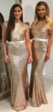 New Arrival Mermaid Round Neck Cap Sleeves Gold Sequined Long Bridesmaid Dresses With Open Back,FPWG238