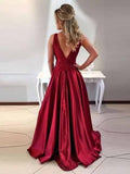A-Line Jewel Sleeveless Burgundy Low Back Prom Dresses,FPPD069