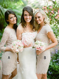 Sheath 3/4 Sleeves&Short Sleeves Mismatched Laced Short Bridesmaid Dresses,FPWG241