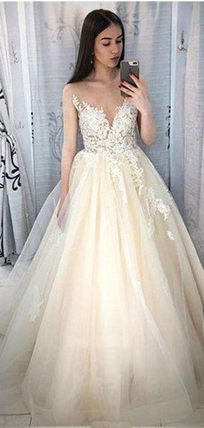 A-Line Deep V-Neck Appliqued Cap Sleeves Tulle Long Prom Dresses,FPPD064