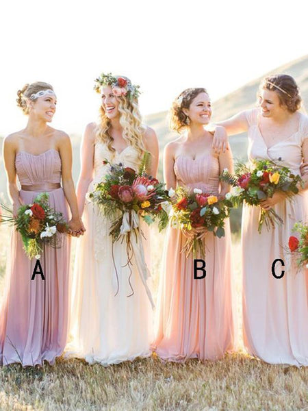 A-Line Sweetheart&Two Straps Chiffon Floor Length Bridesmaid Dresses,FPWG236