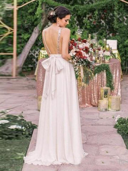 A-Line V-Neck Sleeveless Backless Chiffon Long Bridesmaid Dresses With Sequins,FPWG248