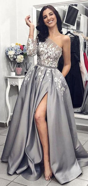 A-Line Grey One Shoulder Long Sleeves Prom Dresses With Appliques,FPPD068