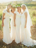 Simple Sheath V-Neck Short Sleeves Chiffon Long Bridesmaid Dresses,FPWG250