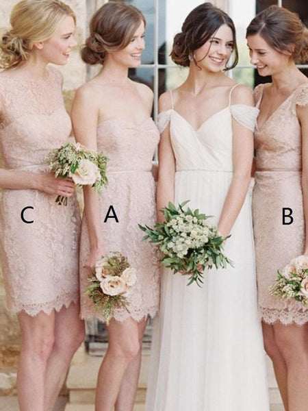 A-Line Sweetheart&Round Neck Mismatched Laced Short Bridesmaid Dresses,FPWG247