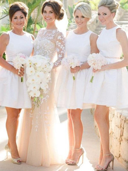 A-Line Round Neck Sleeveless White Short Bridesmaid Dresses With Beading,FPWG244