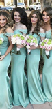 Sexy Mermaid Off Shoulder Mint Sweep Train Bridesmaid Dresses With Lace,FPWG251