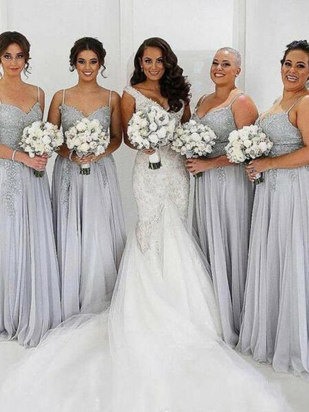 A-Line Spaghetti Straps Grey Tulle Appliqued Cheap Long Bridesmaid Dresses,FPWG245