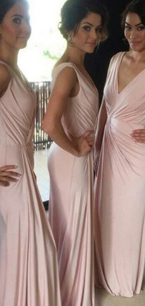 Simple A-Line V-Neck Sleeveless Blush Pink Cheap Long Bridesmaid Dresses,FPWG253
