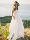 2019 New Arrival A-Line V-Neck White Chiffon Long Wedding Dresses With Spaghetti Straps,Custom Made Wedding Dresses Online,FPWD020