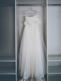 Elegant A-Line Cap Sleeves Tulle Long Wedding Dresses With Lace,FPWD056