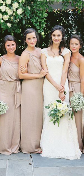 Pretty A-Line One Shoulder Chiffon Cheap Long Bridesmaid Dresses Online,FPWG260