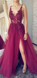 A-Line Side Slit Spaghetti Straps Appliqued Long Prom Dresses,FPPD080