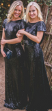 Pretty Sheath Round Neck Short Sleeves Backless Navy Blue Sequined Long Bridesmaid Dresses,FPWG261