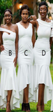 Sexy Mermaid Off Shoulder Mismatched White Long Bridesmaid Dresses,FPWG262