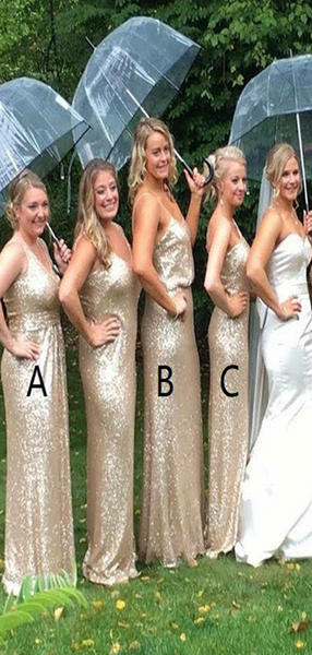 Fabulous Mermaid Mismatched Gold Sequined Long Bridesmaid Dresses,FPWG258