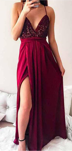 Exquisite Deep V-Neck Halter Red Sequined Side Slit Prom Dresses,FPPD098