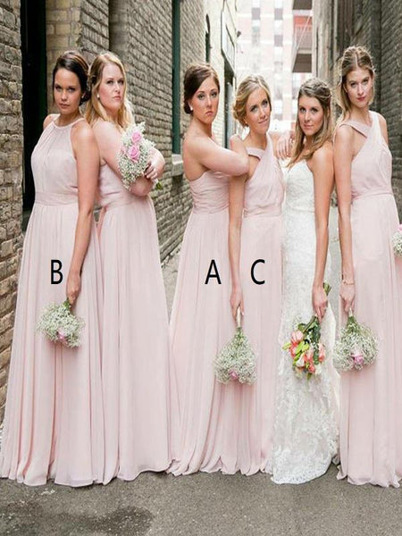 A-Line Sweetheart&Halter Pink Chiffon Cheap Long Bridesmaid Dresses,FPWG255
