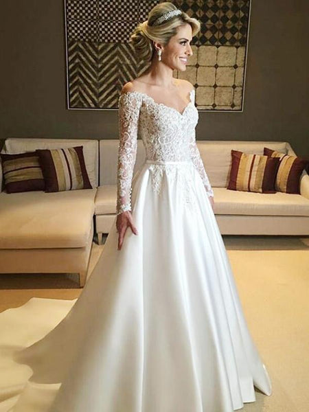 A-Line Sweetheart Off Shoulder Long Sleeves Wedding Dresses With Lace,FPWD057