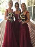 A-Line Two Straps Sweetheart Burgundy Tulle Long Bridesmaid Dresses With Appliques,FPWG266