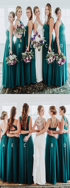 A-Line Mismatched Turquoise Cheap Floor Length Bridesmaid Dresses Online,FPWG265