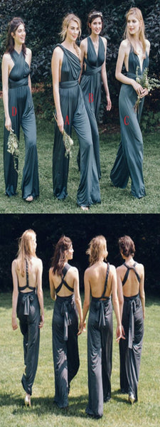Unique Design A-Line Mismatched Jumpsuit Long Bridesmaid Dresses,FPWG273