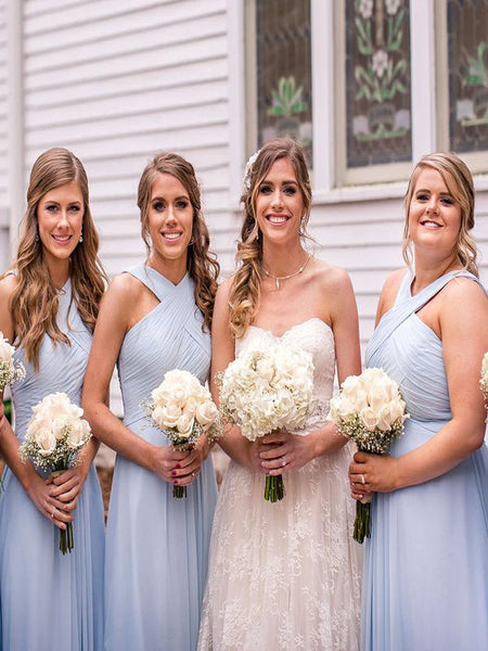 A-Line Cross Neck Sleeveless Light Blue Chiffon Long Bridesmaid Dresses,FPWG264