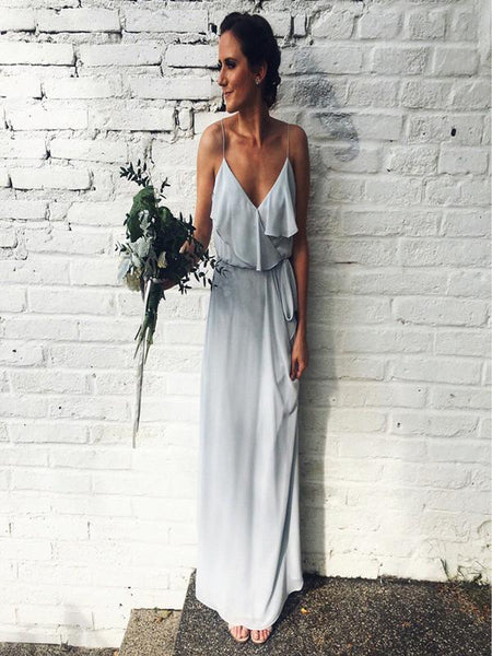 Simple A-Line Spaghetti Straps Light Grey Chiffon Long Bridesmaid Dresses,FPWG272