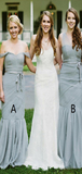 Sexy Mermaid Mismatched Grey Tulle Cheap Long Bridesmaid Dresses,FPWG269