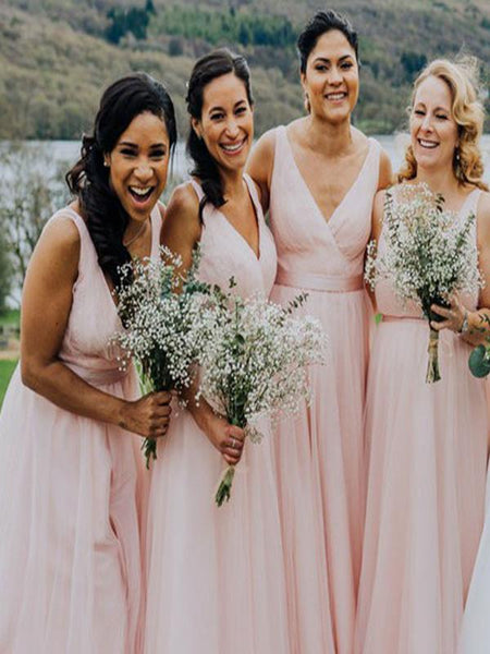 A-Line V-Neck Sleeveless Pink Tulle Long Bridesmaid Dresses Online,FPWG267