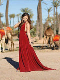 A-Line Spaghetti Straps Burgundy Chiffon Long Prom Dresses,FPPD082