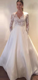 A-Line V-Neck Long Sleeves Laced Wedding Dresses With Pockets,FPWD058